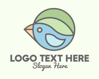 Robin - Leaf Bird Badge logo design