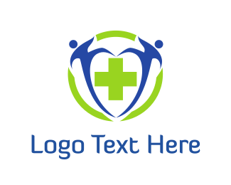 Help - People & Green Cross logo design