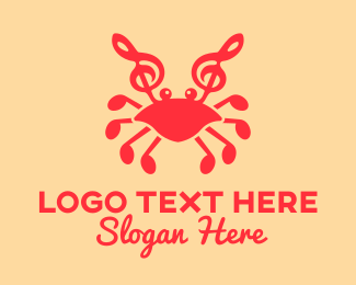 Quarter Note - Musical Crab logo design