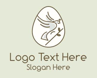 Egg Hunting - Holy Dove Easter Egg logo design