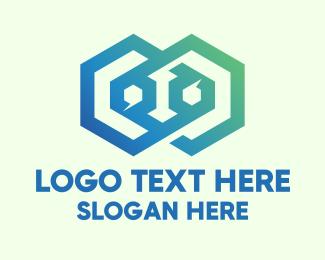 Double - Double Gradient Hexagon logo design
