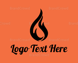 Fireman - Black Abstract Flame logo design