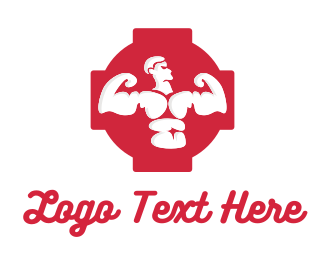 Strength - Red Muscle Man logo design