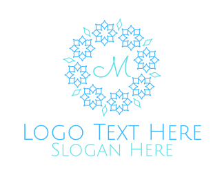 Blue Ice Cream - Blue Pastel Ornamental Wreath Lettermark logo design