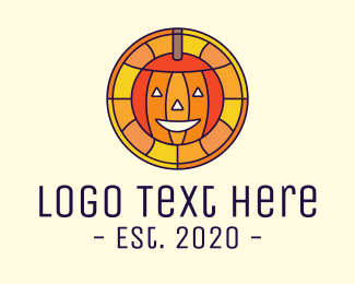 Pumpkin - Stained Glass Halloween Pumpkin logo design