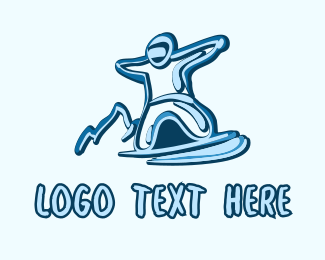 Professional Athlete - Blue Snowboarding Athlete logo design