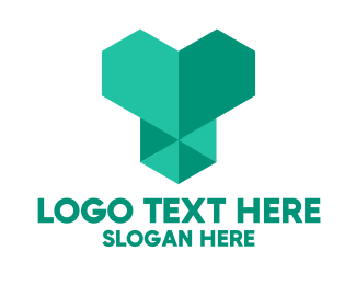 Checkup - Green Geometric Heart  logo design