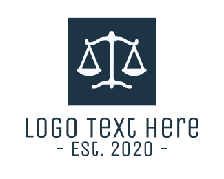 Official - Legal Attorney Scales Square logo design