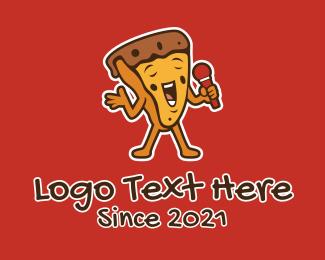 Entertainer - Singing Karaoke Pizza Mascot  logo design