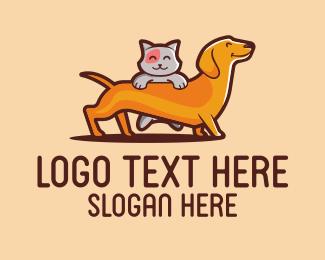 Dachshund - Cat & Dog Pets logo design