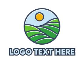 Hiking - Green Hill Stroke logo design