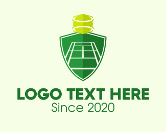 Tennis Coach - Green Tennis Court Shield logo design
