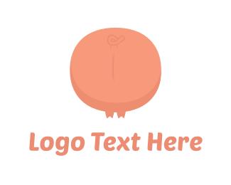 Pork - Pink Pig Tail logo design