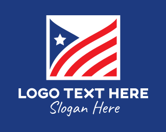 Waving - Square American Flag  logo design