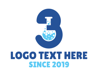 Bio Lab - Blue Lab Number 3 logo design
