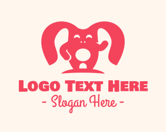 Rabbit Ears - Cute Pink Rabbit logo design