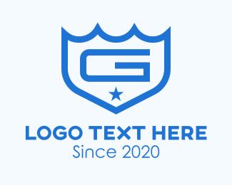 Naval - Blue Maritime Shield Letter G logo design