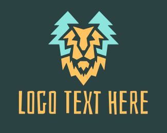 Savannah - Lion Pine Forest logo design