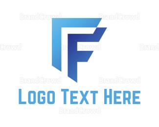 Asset Management - Blue Letter F logo design