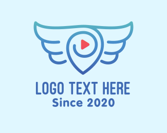 Travel Vlogger - Destination Pin Wings logo design