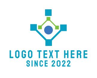 Artificial Intelligence - Human Network Technology logo design