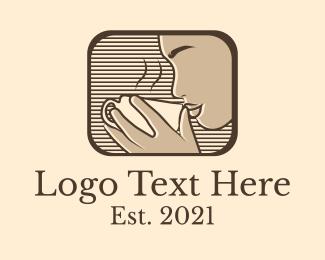Coffee Stand - Retro Coffee Shop Woman logo design