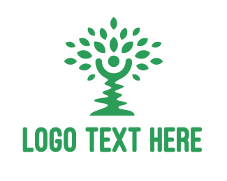 Massage - Green Crooked Tree logo design