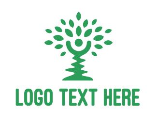 Green Tree Person Logo