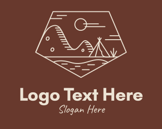 Exploration - Mountain Camping Campsite logo design