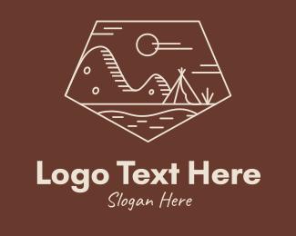 Hut - Mountain Camping Campsite logo design