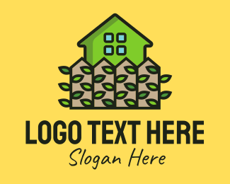 Apartment - Green House Garden Fence logo design