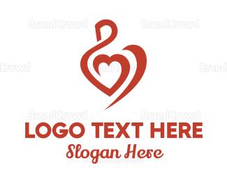 Blue And Pink - Swan Heart Stroke logo design