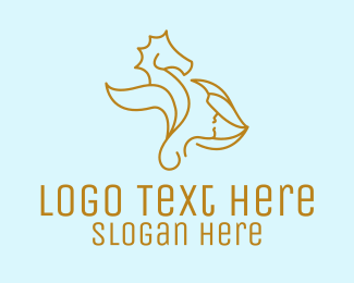Seashell - Gold Seahorse Beauty logo design