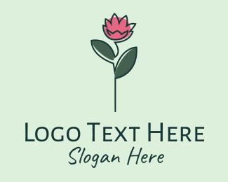 Intimate - Pink Flower Stalk logo design