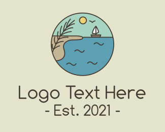 Fishing Boat - Ocean River Lake Boat logo design