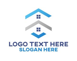 Neighborhood - Blue Houses logo design