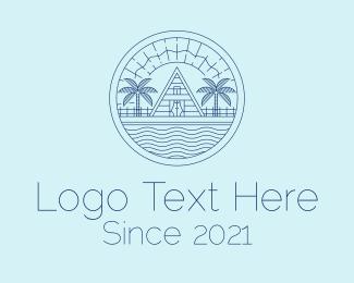Tourist Destination - Minimalist Beach Resort  logo design