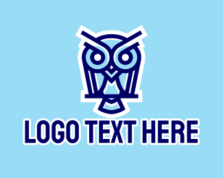 Review Center - Blue & White Owl  logo design
