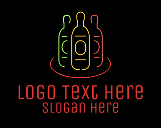 Gin - Neon Nightclub Beer Bottles logo design
