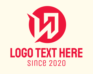 Construction - Red Building Letter W logo design