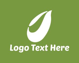 Green And White - White Leaf logo design