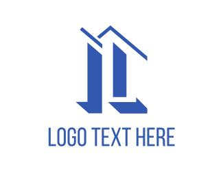 Letter L - Blue Buildings logo design