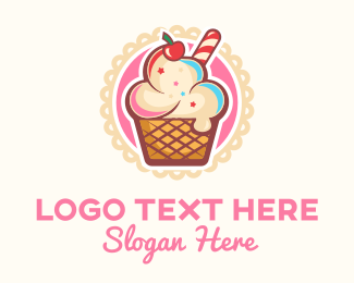 Ice Cream Shop - Ice Cream Sundae logo design