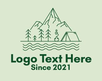 Hut - Green Mountain Camping logo design
