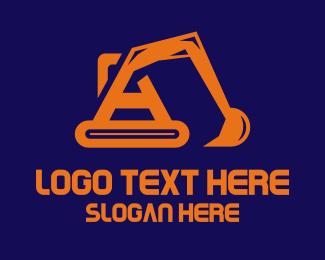Digger - Excavator Letter A logo design
