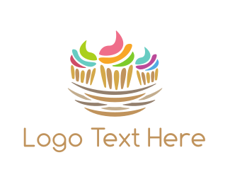 Cute Cake - Cupcake Nest logo design