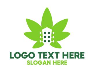 Drugs - Cannabis Guitar  logo design