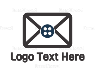 Text Message - Button Mail logo design