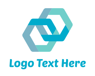 Link - Blue Hexagons Connected logo design
