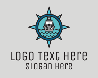 Seaport - Compass Cargo Ship  logo design